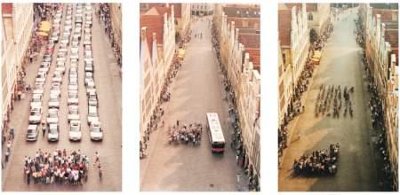 Platzverbrauch von Auto Bus Fahrrad