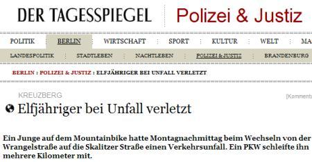 Tagesspiegel: Elfjähriger bei Unfall verletzt