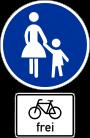 Gehweg, Radfahrer frei